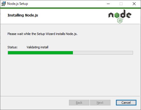 Node.js セットアップ インストール中