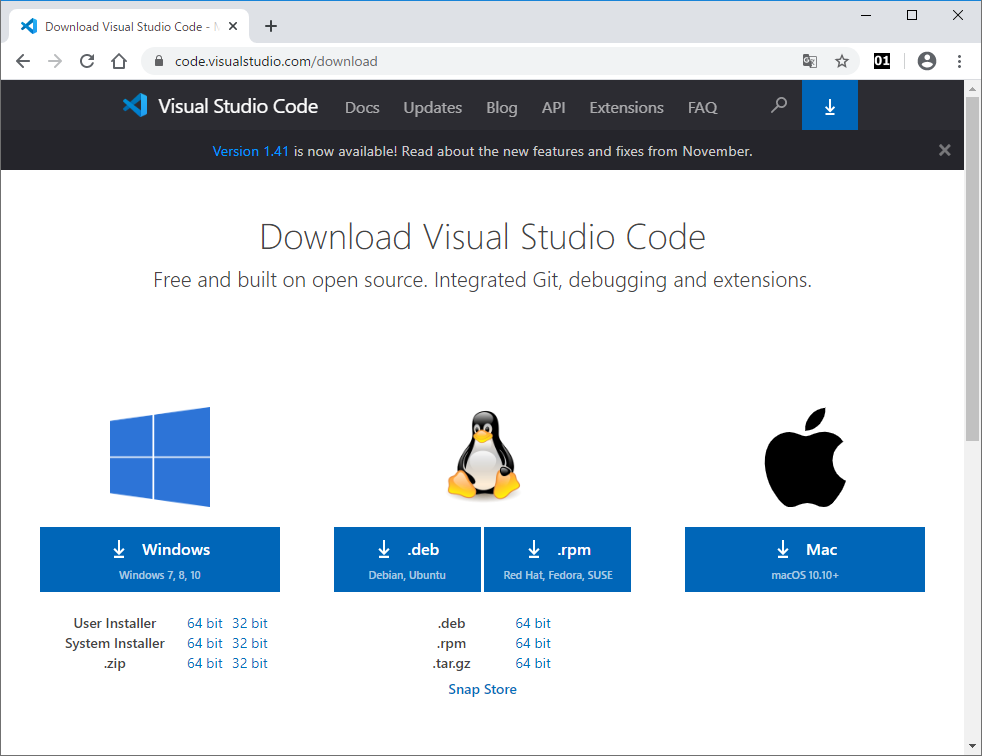 Visual Studio Codeのダウンロードページ