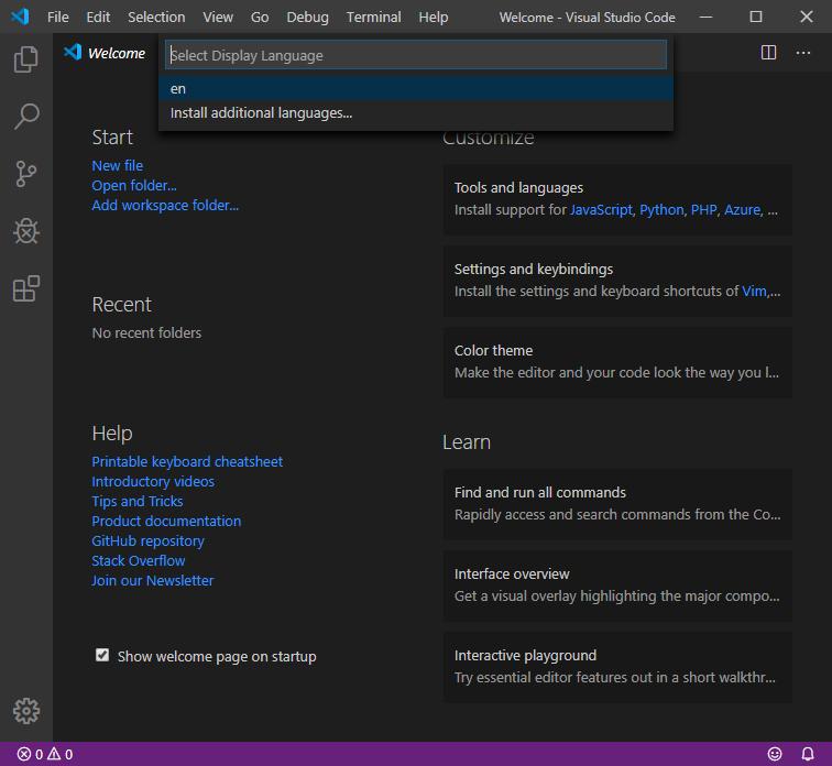 Visual Studio Codeで言語の選択