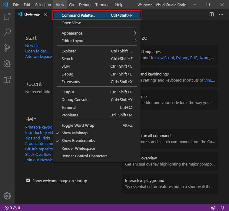 Visual Studio Code Command Paletteメニュー