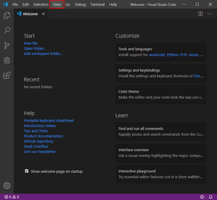 Visual Studio Code Viewメニュー