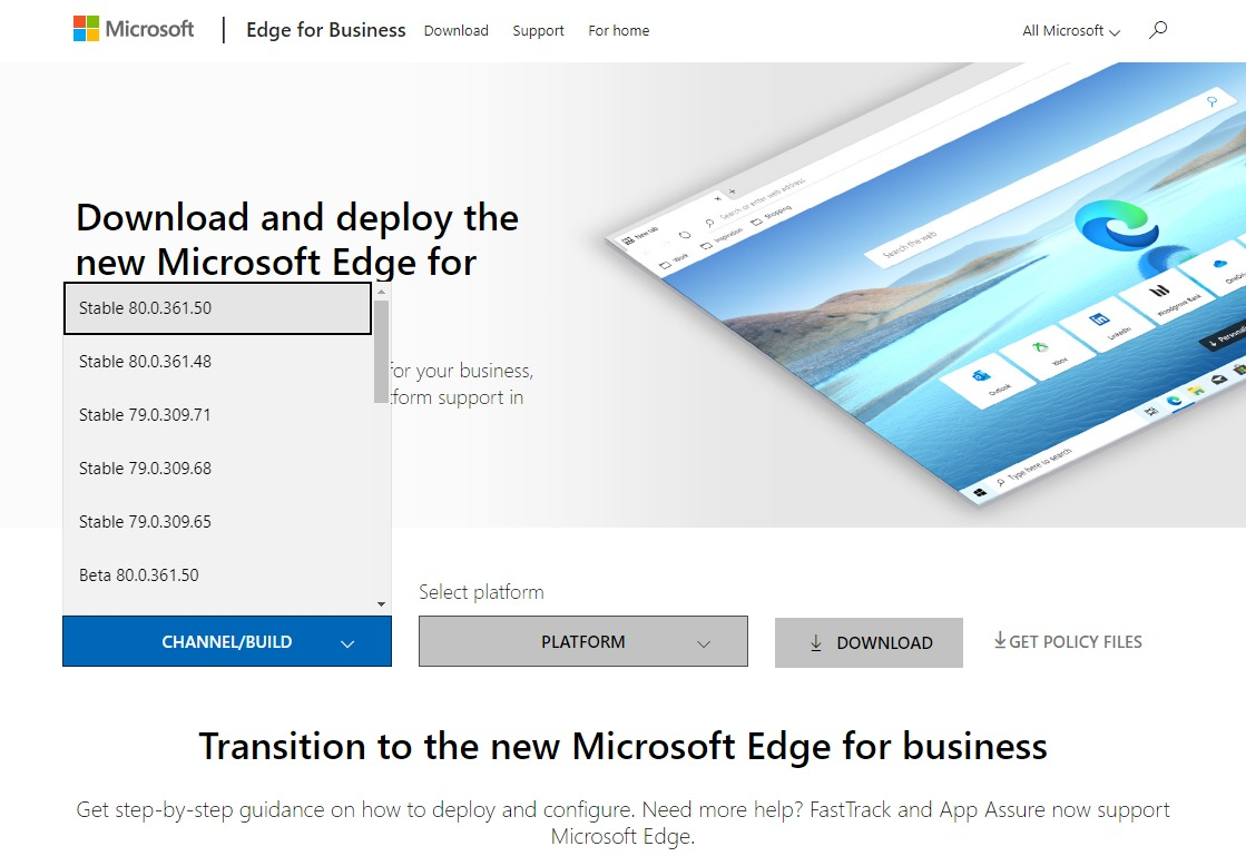 ChromiumベースのMicrosoft Edge for Business CHANNEL/BUILD選択