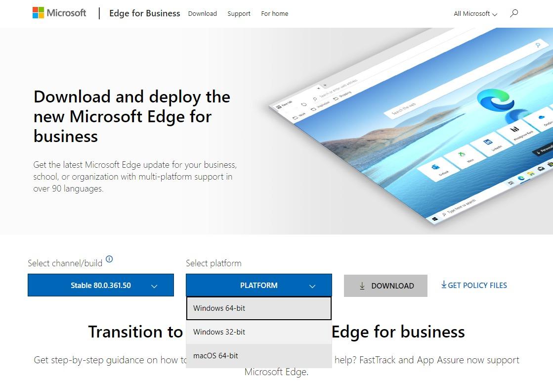 ChromiumベースのMicrosoft Edge for Business PLATFORM選択