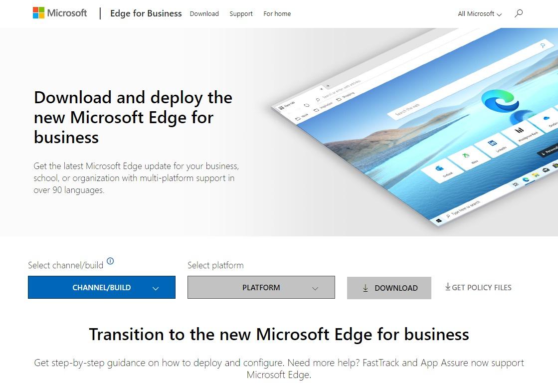 ChromiumベースのMicrosoft Edge for Businessのダウンロードページ