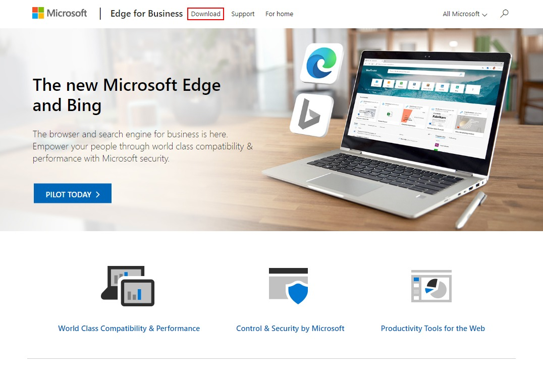 ChromiumベースのMicrosoft Edge for Businessのダウンロード
