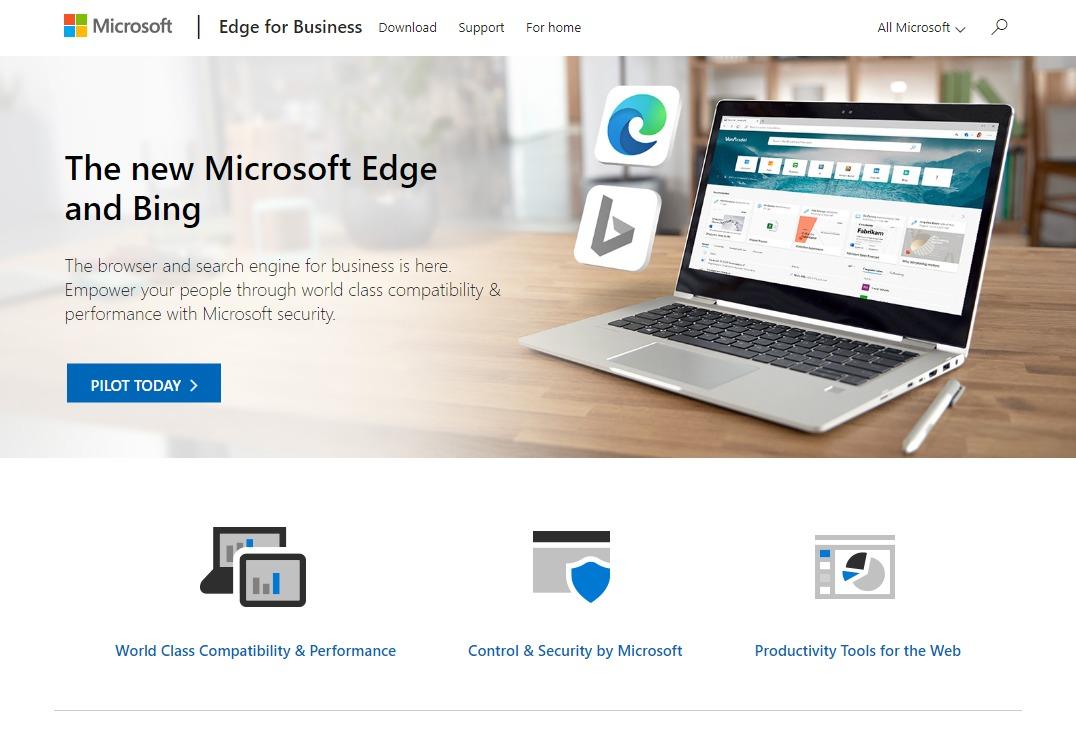 ChromiumベースのMicrosoft Edge for Businessのページ