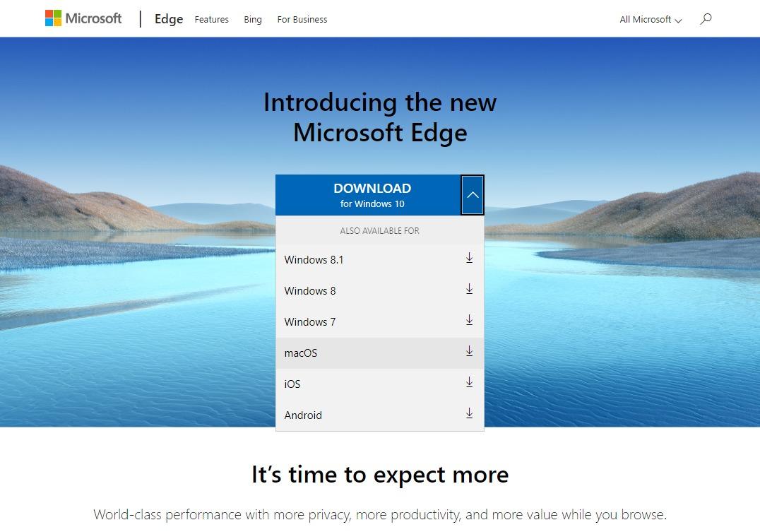 ChromiumベースのMicrosoft Edge プラットフォーム選択リスト