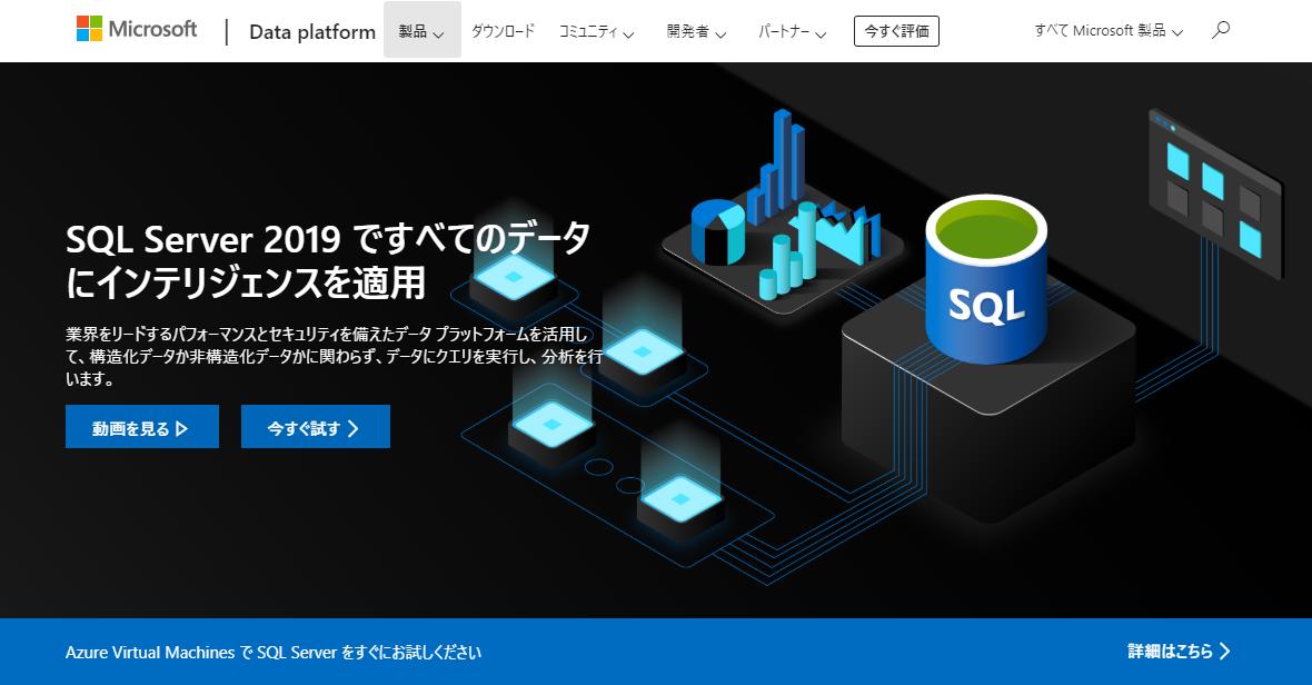 Microsoft SQL Server 2019のページ