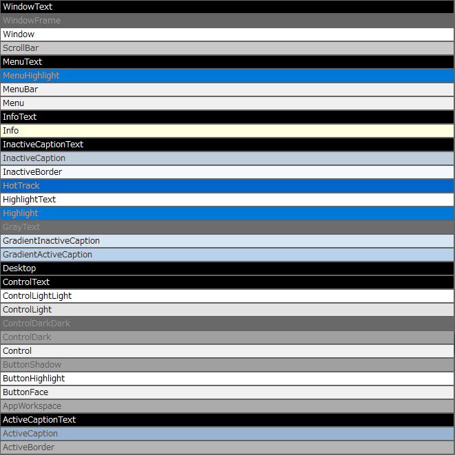 .NET Framework Core SystemColors システムカラー一覧