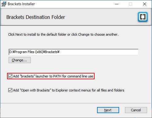 Bracketsのランチャーを環境変数のPATHに追加