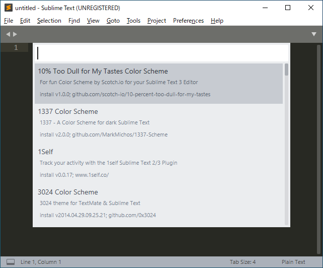 Sublime TextのPackage Control(パッケージコントロール)でリストのPackage Control: Install Packageを選択した後の画面