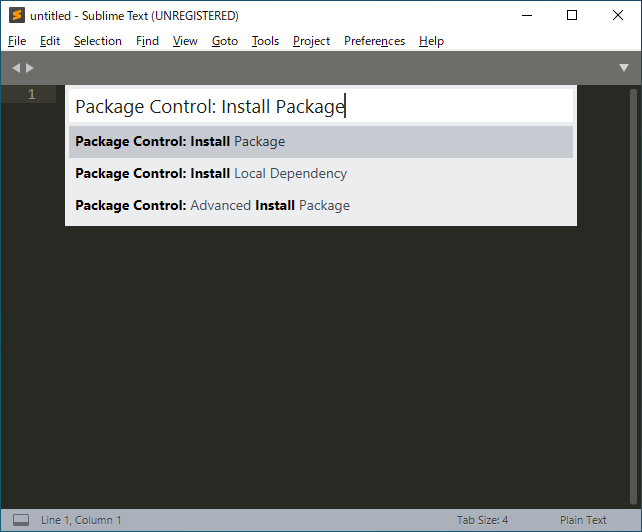 Sublime TextのPackage Control(パッケージコントロール)のフォーム(テキストボックス)にPackage Control: Install Packageと入力