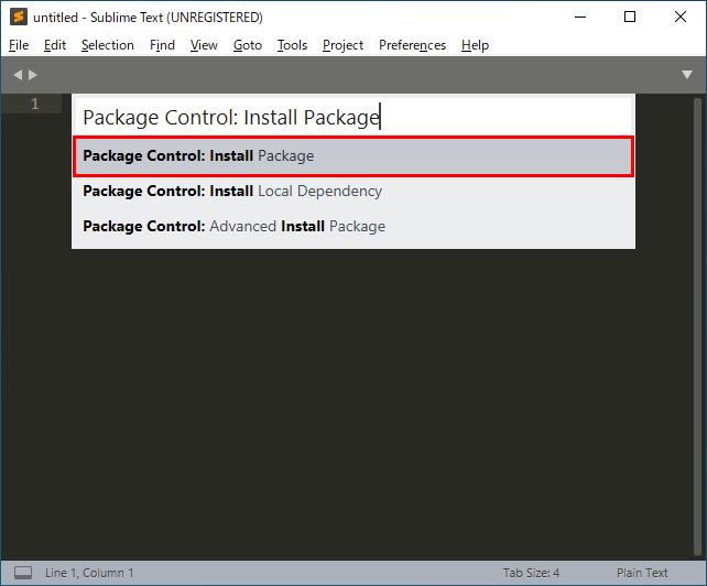 Sublime TextのPackage Control(パッケージコントロール)でリストのPackage Control: Install Packageを選択
