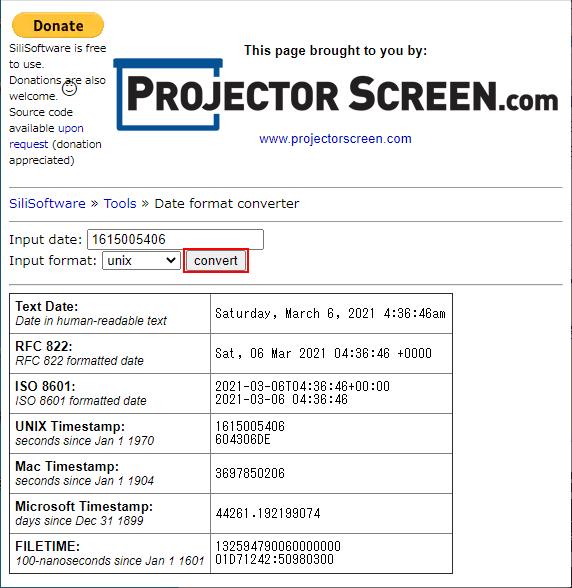 SiliSoftware Date format converter 変換ボタンクリック