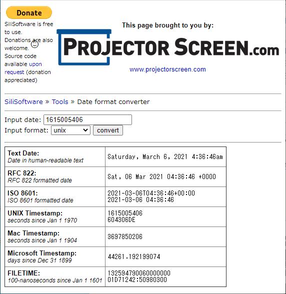 SiliSoftware Date format converterのページ