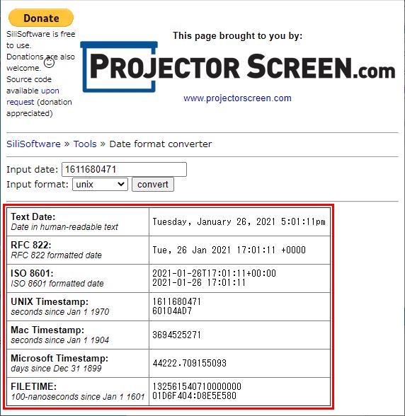 SiliSoftware Date format converter 日付変換結果表示