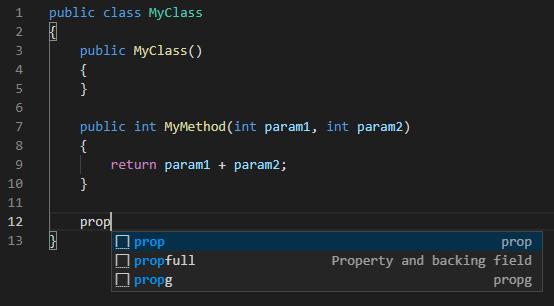 Visual Studio Codeのスニペット機能でC#のコードを入力する前