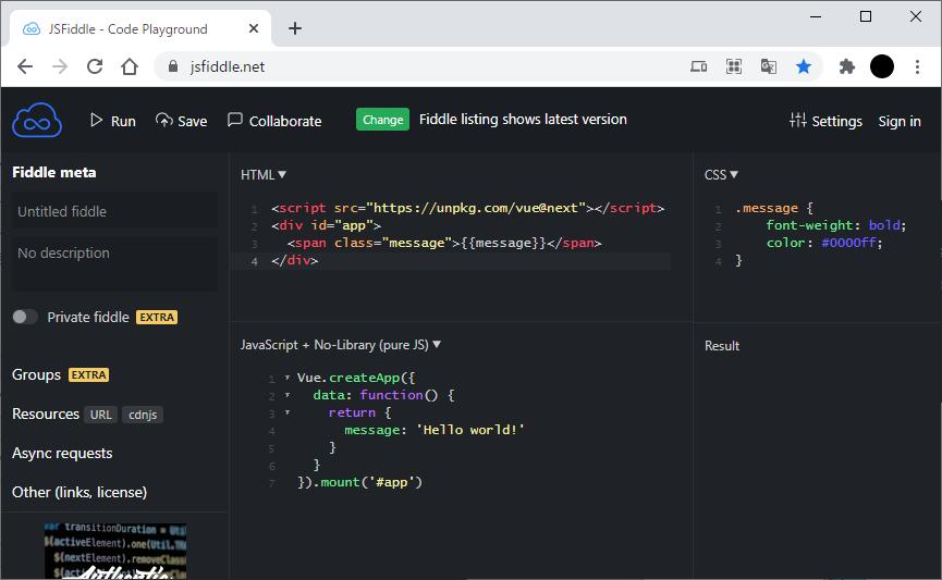 jsFidleでVue.jsのコードを実行する前
