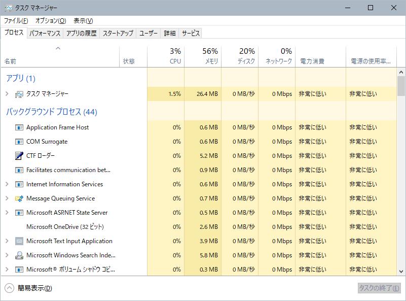 Windows10 タスクマネージャー 詳細表示