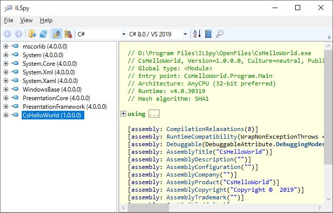 ILSpyにアセンブリを追加