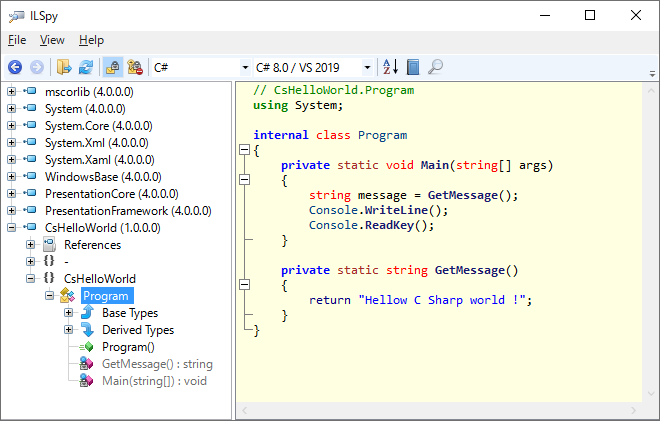 ILSpyでC#で作成したアセンブリを逆コンパイルして表示されるソースコード