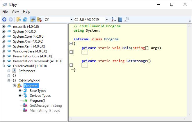 ILSpyのツリービューのProgramを選択