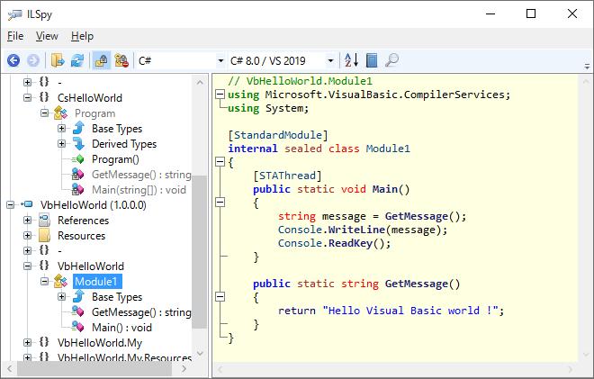 ILSpyでVisual Basicで作成したアセンブリを逆コンパイルして表示されるソースコード