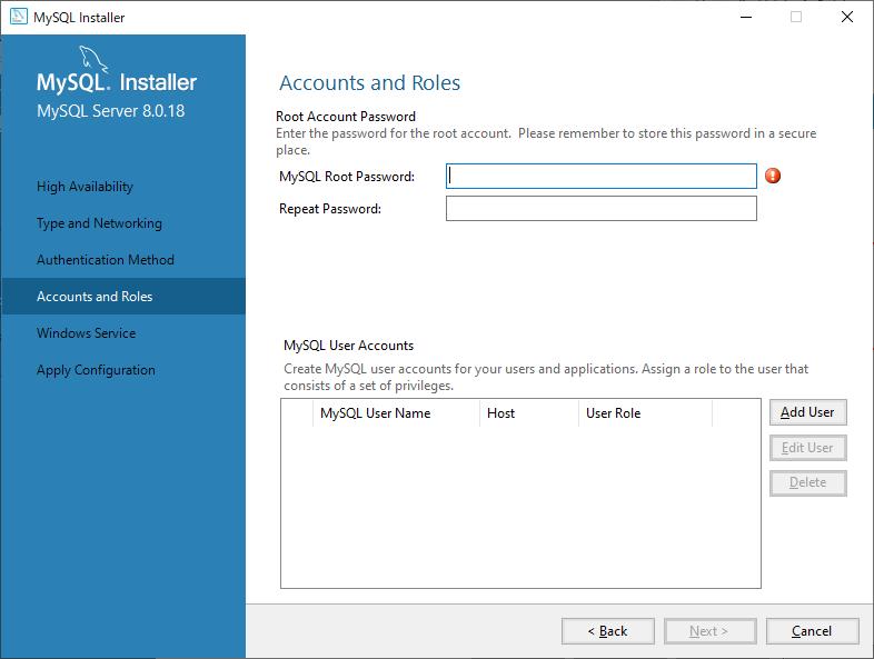 MySQLルートアカウントのパスワード設定とユーザーアカウントの追加