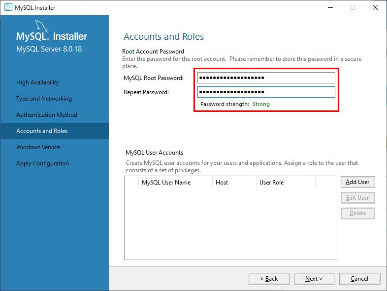 MySQLルートアカウントのパスワードを入力