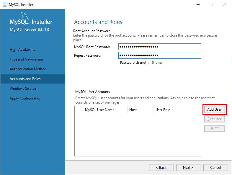 MySQLユーザーアカウントの追加