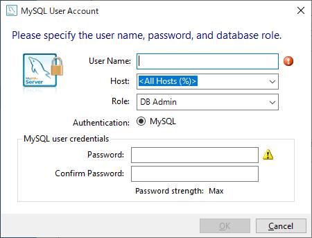MySQLユーザーアカウントの設定ダイアログ