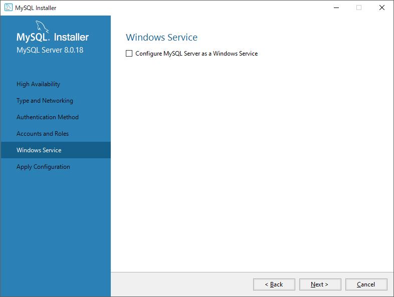 MySQL Windowsサービスの設定OFF