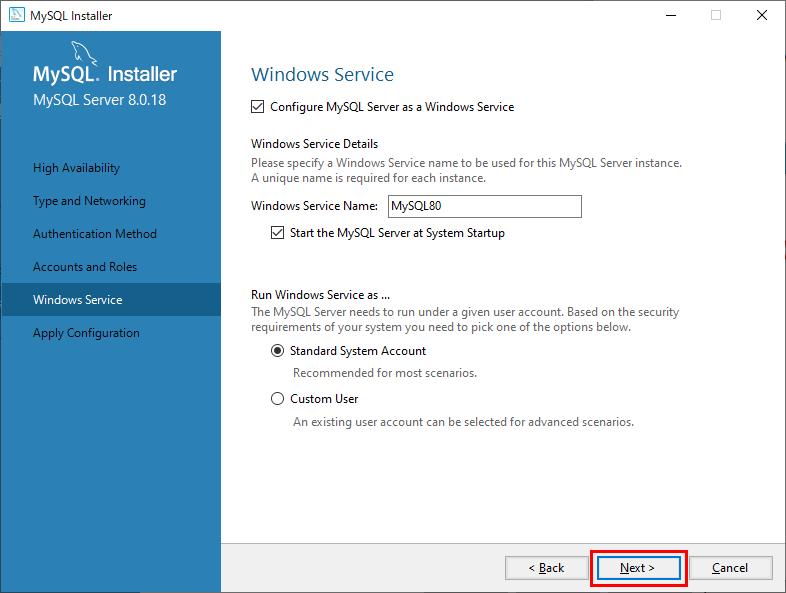 MySQL Windowsサービスの設定後次へ