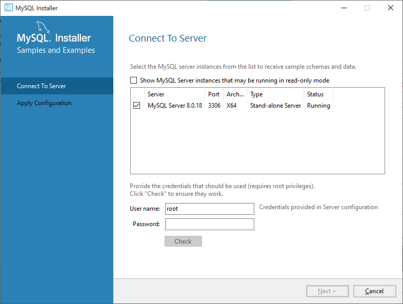 MySQL サーバーへの接続テスト
