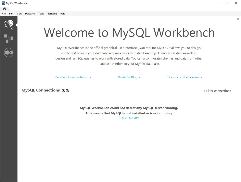 セットアップ終了後のMySQL Workbench