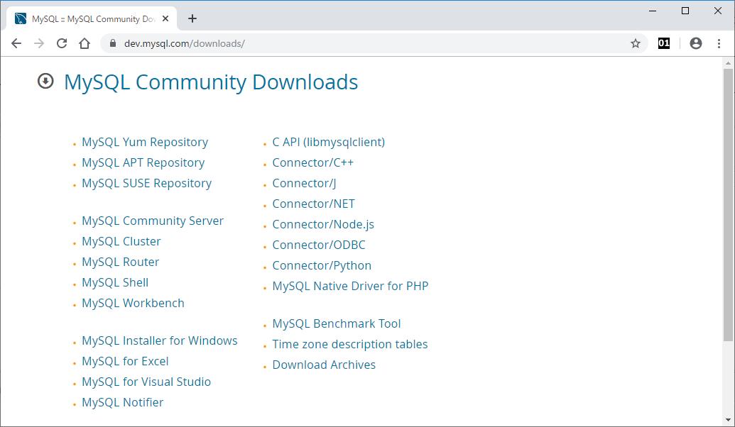 MySQL Community Downloadsのページ