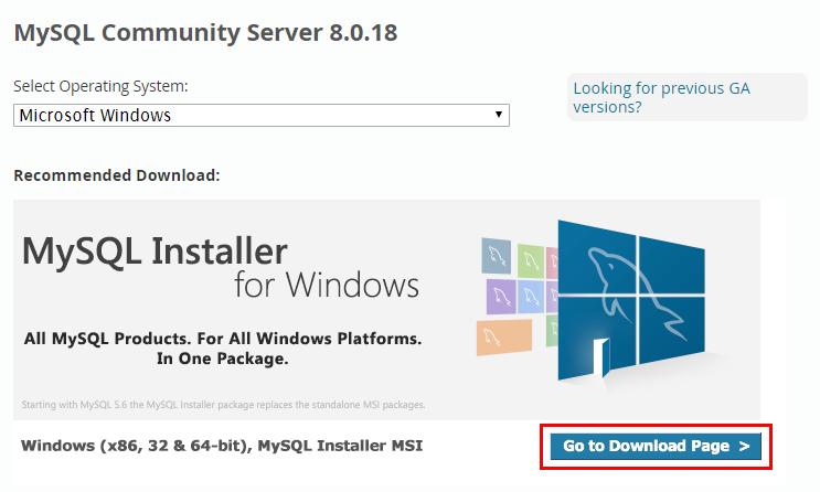 MySQL Community Serverのダウンロードページ Go to Download Pageのリンク
