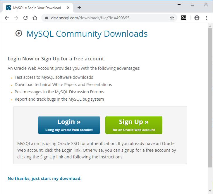 MySQL.com(Oracle)アカウントのログインまたはサインアップのページ