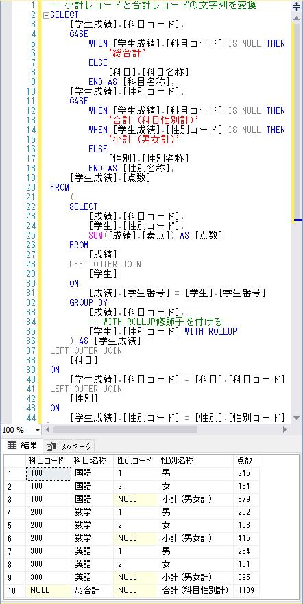 小計レコードと合計レコードの文字列を変換