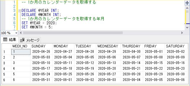 SQLServerでのカレンダーデータの取得